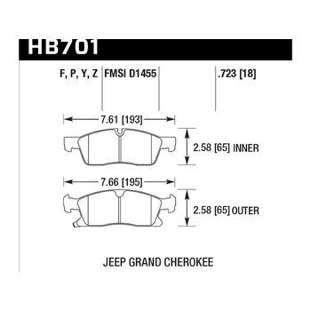 Колодки тормозные HB701F.723 HAWK HPS передние Jeep Grand Cherokee WK2/Dodge Durango 2011+