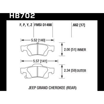 Колодки тормозные HB702Z.662 HAWK PC задние Jeep Grand Cherokee WK2/Dodge Durango 2011+