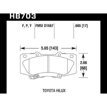 Колодки тормозные HB703F.665 HAWK HPS передние TOYOTA HILUX 2005->