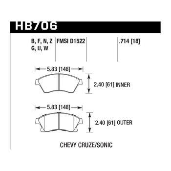 Колодки тормозные HB706N.714 HAWK HP Plus