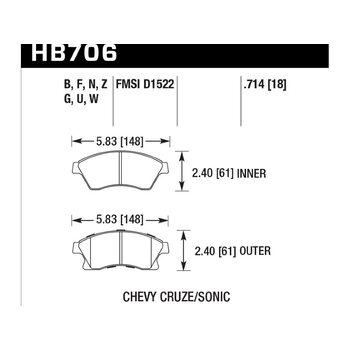Колодки тормозные HB706Z.714 HAWK PC перед CHEVROLET Cruze