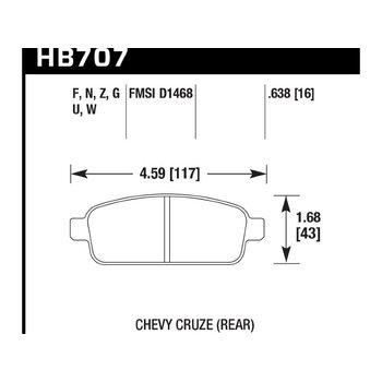 Колодки тормозные HB707F.638 HAWK HPS зад Chevrolet Cruze
