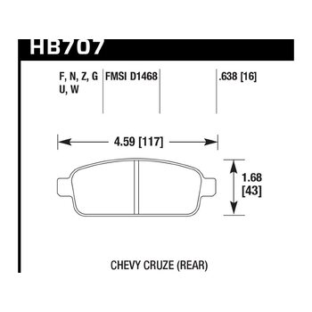 Колодки тормозные HB707Z.638 HAWK PC зад Chevrolet Cruze