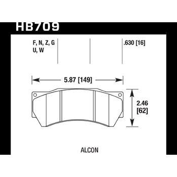 Колодки тормозные HB709Z.630 HAWK PC Alcon Monoblock 6 CAR97