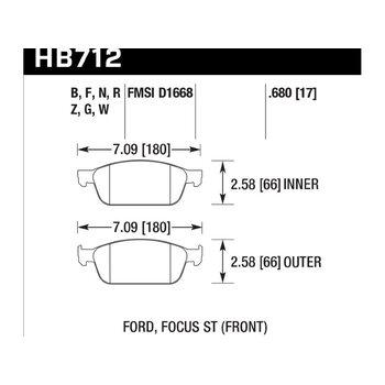 Колодки тормозные HB712Z.680 HAWK PC; 17mm