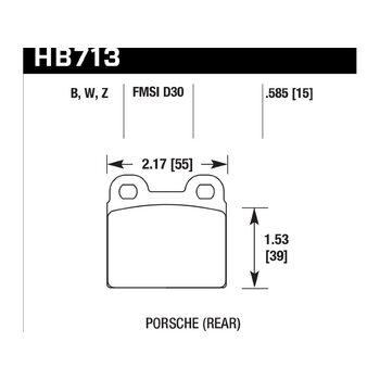 Колодки тормозные HB713Z.585 HAWK PC; 15mm