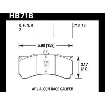 Колодки тормозные HB716Z.710 HAWK PC; 18mm