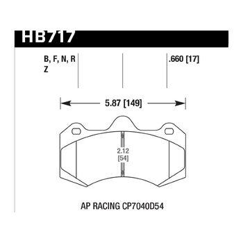 Колодки тормозные HB717N.660 HAWK HP Plus; 17mm