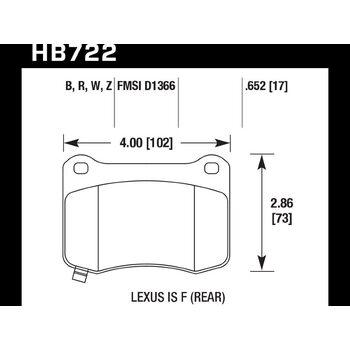 Колодки тормозные HB722Z.652 HAWK PC; 17mm