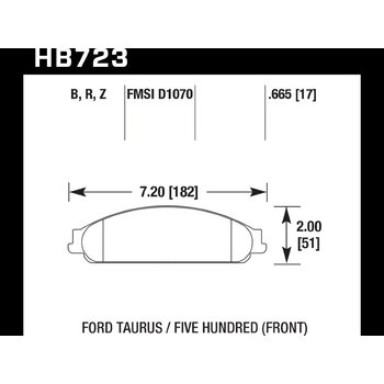 Колодки тормозные HB723Z.665 HAWK PC; 17mm