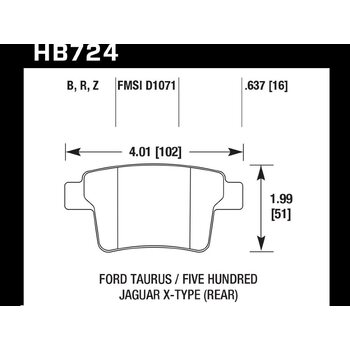 Колодки тормозные HB724Z.637 HAWK PC; 16mm