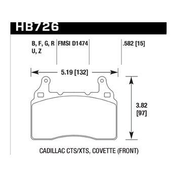 Колодки тормозные HB726Z.582 HAWK PC; 15mm