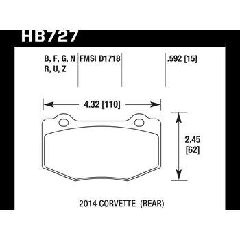 Колодки тормозные HB727N.592 HAWK HP PLUS; 15mm