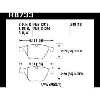 Колодки тормозные HB733Z.748 HAWK PC; 19mm