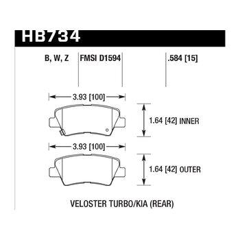 Колодки тормозные HB734Z.584 HAWK PC 2013 Veloster Turbo Rear