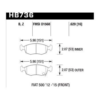 Колодки тормозные HB736Z.629 HAWK PC; 16mm