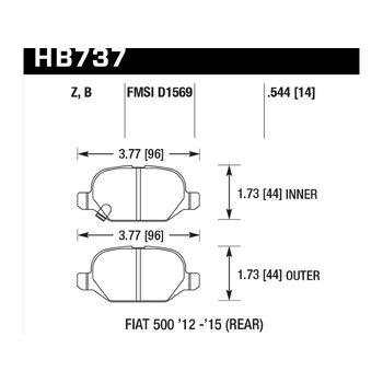 Колодки тормозные HB737Z.544 HAWK PC; 14mm