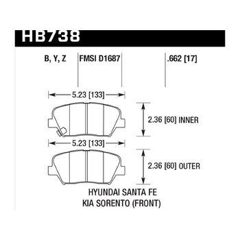 Колодки тормозные HB738Y.662 HAWK LTS 2014 Veloster Sante Fe