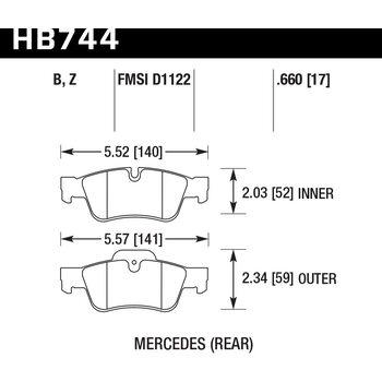 Колодки тормозные HB744B.660 HAWK Street 5.0 зад MB M W164; R W251; G W463; GL X164;