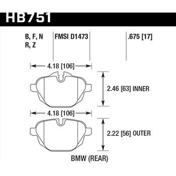 Колодки тормозные HB751B.675 HAWK Street 5.0 зад BMW 5 F10; 5 F11; 5 F18; i8; X3 F25; X4 F26;