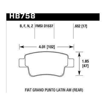 Колодки тормозные HB758F.652 HAWK HPS; 17mm