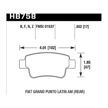 Колодки тормозные HB758Z.652 HAWK PC; 17mm