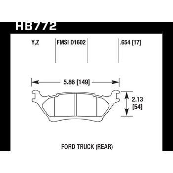 Колодки тормозные HB772Y.654 HAWK LTS; 17mm