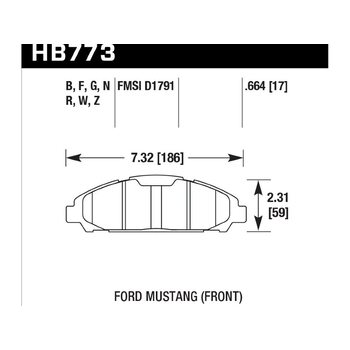 Колодки тормозные HB773F.664 HAWK HPS; 17mm