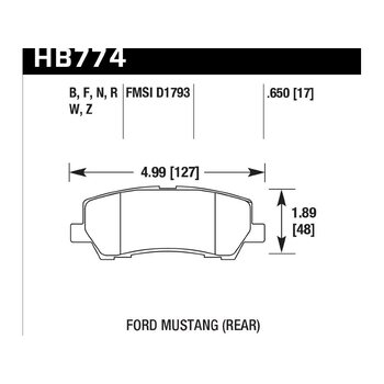 Колодки тормозные HB774N.650 HAWK HP PLUS; 17mm