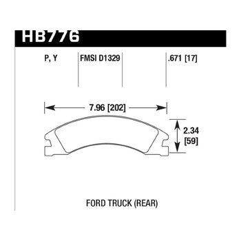 Колодки тормозные HB776Y.671 HAWK LTS; 17mm