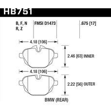 Колодки тормозные HB751F.675 HAWK HPS; 17mm  BMW 5 F10; 5 F11; 5 F18; i8; X3 F25; X4 F26;
