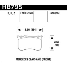 Колодки тормозные HB795Z.618 HAWK PC переднние MB A45 AMG (W176); CLA 45 AMG (C117); GLA 45