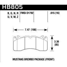 Колодки тормозные HB805Z.615 HAWK PC; перед FORD MUSTANG BREMBO PACKAGE 2015->