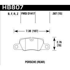Колодки тормозные HB807F.587 HAWK HPS задние 911 (991) Carrera 2011-> ; Panamera 2009->