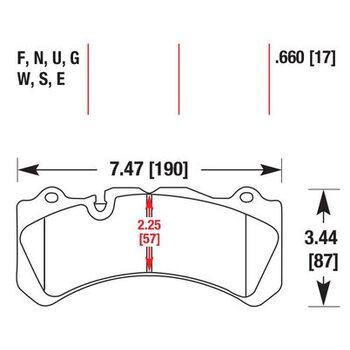 Колодки тормозные HB581F.660 HAWK HPS Brembo 6 поршней тип J, N / PORSCHE 911 (997) 3.8 GT3