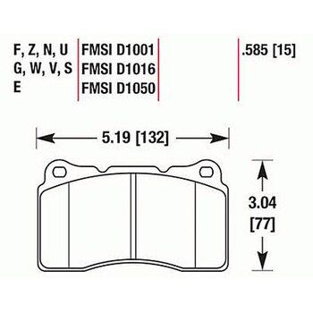 Колодки тормозные HB453F.585 HAWK HPS передние MMC Lancer Evo V-X / SUBARU WRX Sti/OPEL INSIGNIA OPC